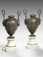 A Fine Pair of Patinated Bronze and Marble Urn Shaped Vases (3 of 5)