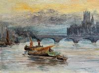 Superb Original 1921 View of Westminster, London Seascape Oil Painting (6 of 12)