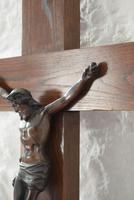 Large Oak Crucifix with Spelter Corpus Christi (9 of 10)