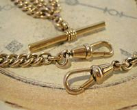 Victorian Pocket Watch Chain 1890s Antique 12ct Rose Rolled Gold Albert & T Bar (5 of 10)