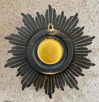 Stylish Art Deco Carved Giltwood Starburst Clock c.1930 (5 of 8)