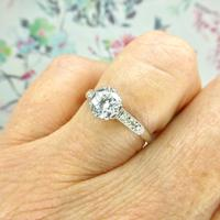 Art Deco Platinum old European cut diamond solitaire engagement ring 0.65ct ~ With appraisal & valuation (4 of 11)