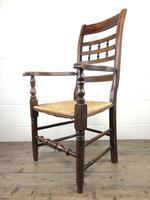 Antique Elm Spindle Back Armchair with Rush Seat (8 of 10)