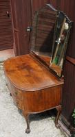 1940s Burr Walnut Dressing Table with Large Mirror (3 of 3)