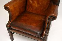 Antique Leather & Mahogany Wing Back Armchair (10 of 11)