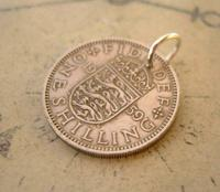 Vintage Pocket Watch Chain Fob 1959 Lucky Silver One Shilling Old 5d Coin Fob (3 of 8)