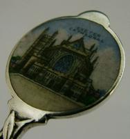 Exeter Cathedral Sterling Silver Enamel Souvenir Spoon 1913 Antique (2 of 5)