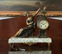 Beautiful 19thc French 3-piece 8-day Gilt-bronzed Spelter Garniture Mantle Clock (4 of 16)