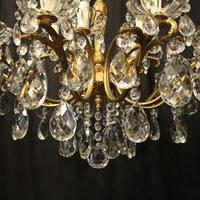 Italian 15 Light Gilded Brass Antique Chandelier (8 of 10)