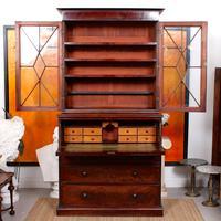 Tall Antique Secretaire Bureau Bookcase Astragal Glazed Mahogany Library Cabinet (2 of 13)