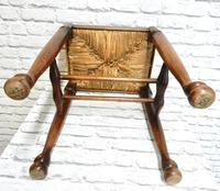 Rush Seated Antique Stool (4 of 4)