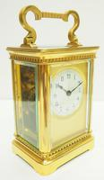Rare Antique French 8-day Carriage Clock Unusual Masked Dial Case with Enamel Dial (9 of 10)