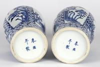 Chinese Pair of Large Blue & White Panel Vases with Figures Qing Dynasty (11 of 25)