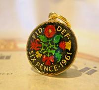 Vintage Pocket Watch Chain Sixpence Fob 1961 12ct Gold Plated & Multi Coloured Enamel Coin Fob