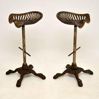 Pair of Antique Victorian Cast Iron Tractor Bar Stools (4 of 12)