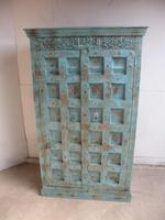Handmade Indian Mango & Teak Large Painted Sky Blue 2 Door Storage Cupboard (4 of 13)