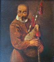 Original 18th Century Miniature Oil on Panel Portrait Painting of Bagpipe Player (2 of 11)