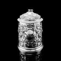 Antique Solid Sterling Silver Large Tankard with Royal Marines Officer Interest - Goldsmiths & Silversmiths Co 1900 (7 of 28)