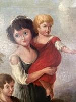 Antique Georgian early Victorian oil painting portrait of children in gesso frame (6 of 9)