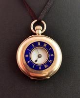 Antique 9ct Gold Half Hunter Pocket Watch, Blue Enamel (10 of 14)