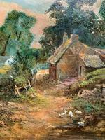 Original 19th Century British Farmland Countryside Landscape Oil Painting (7 of 11)