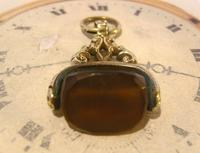 Antique Pocket Watch Chain Fob 1870s Victorian Huge Brass & Amber Stone Swivel Fob (9 of 10)