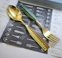 A Michelsen Danish Solid Sterling Silver Enamel, Christmas 1960 Spoon & Fork Pair Set. Solstice (4 of 8)