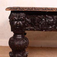 Carved Oak Desk Library Table Gothic Jacobean Large 19th Century (5 of 18)