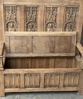 French Gothic Oak Hall Bench (4 of 8)