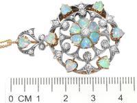 2.38ct Opal & 0.72ct Diamond, 12ct Yellow Gold Pendant / Brooch - Antique c.1880 (8 of 12)