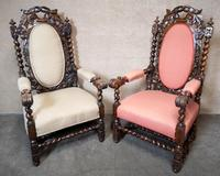 Pair of Victorian Jacobean Style Carved Oak Armchairs