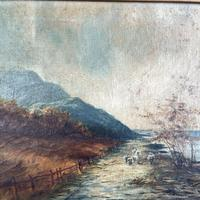 Antique Scottish Landscape Oil Painting with Sheep on Track by Loch Signed B Clark 1918 (4 of 10)