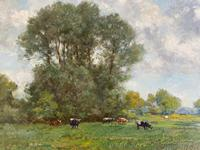 Good Gilt Framed Oil Painting on Canvas of Cattle Grazing on a Riverbank. Signed by the Artist T.E. Francis (4 of 4)