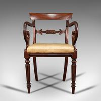 Antique Elbow Chair, English, Mahogany, Carver, Drop-in Seat, Regency c.1820 (2 of 12)