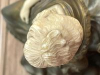 Important Art Nouveau Bronze Marble Seated Lady Sculpture By Xavier Raphanel (36 of 39)