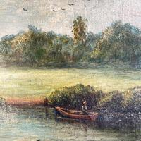 Antique English River Landscape Oil Painting After Constable Signed R Watts 1843 (6 of 10)