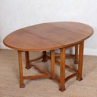 Oak Gateleg Dining Table Carved Solid Folding Kitchen Table (2 of 15)