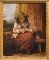 Victorian Oil Painting of a Girl with Kitten (3 of 6)