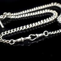 Antique Albert Watch Chain with Double Dog Clips, T-Bar and Medal (6 of 9)