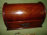 Compact Figured Oak Roll Top Stationery Box. c1900 (3 of 14)