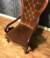 Victorian Mahogany Scroll Arm Nursing Chair (3 of 9)