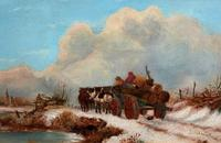'The Loggers Return Home' Superb Antique Winter Landscape Oil on Canvas Painting (2 of 12)