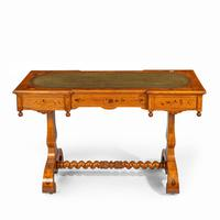 Victorian Walnut Marquetry Writing Table attributed to Edward Holmes Baldock (13 of 17)