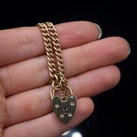 "Vintage Heart Padlock Fancy Curb 9ct 9K Gold Bracelet 6"" (9 of 11)"