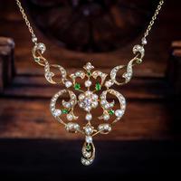 Antique Edwardian Pearl Diamond Green Garnet Lavaliere Necklace 15ct Gold c.1905 (7 of 8)