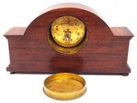 Fine Edwardian Mahogany Arched Clock Multi Wood Inlay Timepiece Mantel Clock (8 of 9)