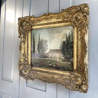Antique Landscape Oil Painting of Farmhouse with Cows & Sheep (8 of 10)