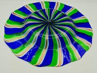 Rare Murano Glass XL Size Platter with Swirled Coloured Stripes (8 of 10)