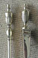 Edwardian Neo Classical Adam Urn Brass Fire Irons & Brass Fire Dogs Companion Set c.1910 (5 of 11)