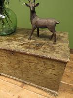 Large Antique Old Painted Green Distressed Pine Trunk Chest, Rustic Blanket Box (16 of 18)